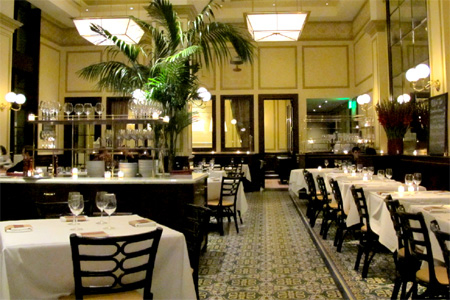 Dining room of Bouchon in Beverly Hills, CA