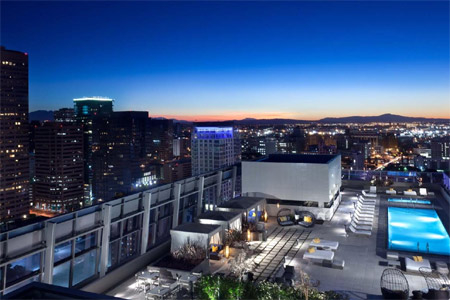 Rooftop cabanas at WP24 by Wolfgang Puck in Los Angeles, CA