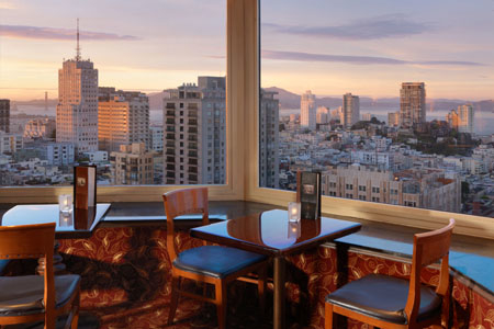 Dining room of Top of the Mark in San Francisco, CA