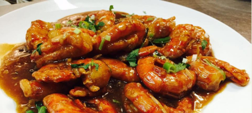 Good Luck Gourmet's shrimp with ginger and scallions (photo courtesy Good Luck Gourmet)