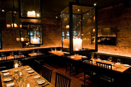 Dining room of Marc Forgione in New York, NY