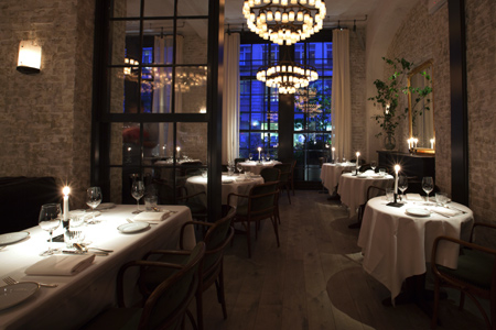 Dining room of Le Coucou in New York, NY
