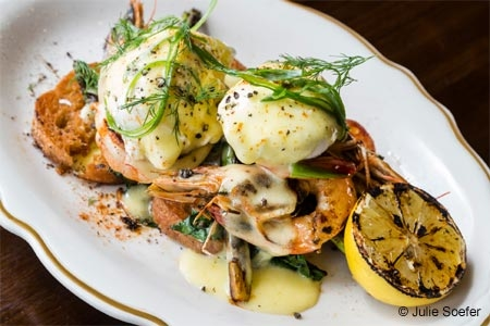 Gulf shrimp Benedict at State of Grace in Houston, TX