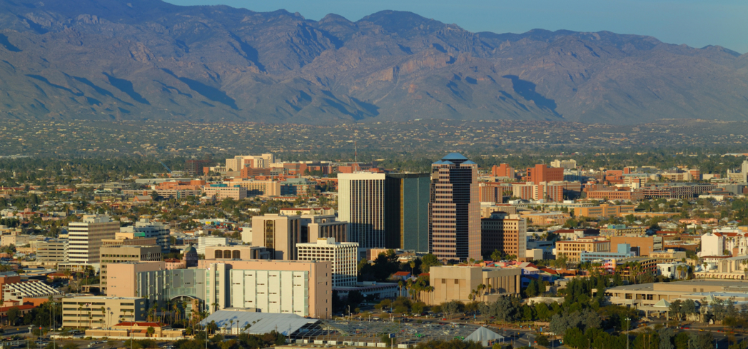 An aerial view of Tucson in Arizona