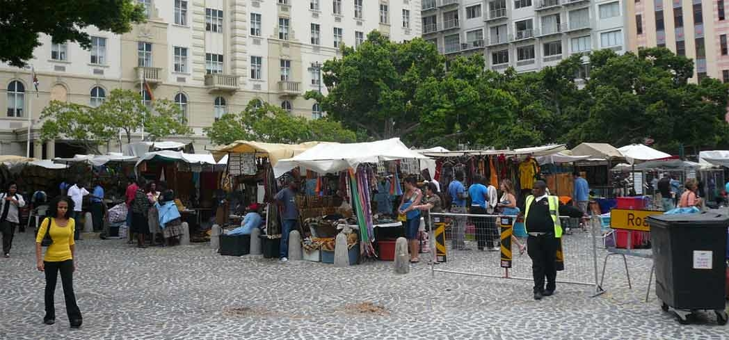 Visitors shopping at Greenmarket Square in Cape Town