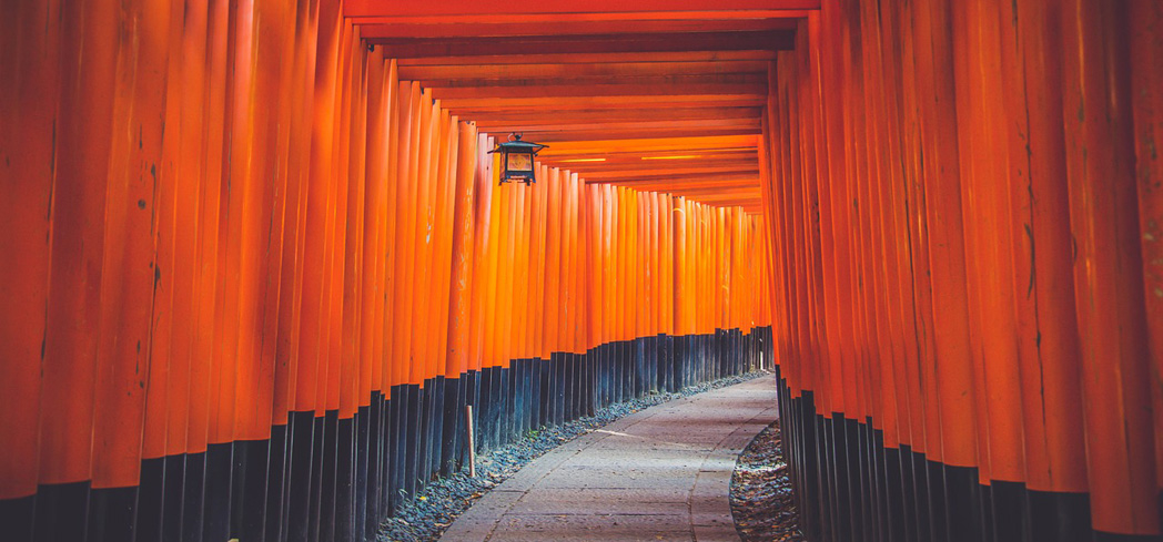 Fushimi Inari Shrine's torii gates are painted to represent the color of the sun