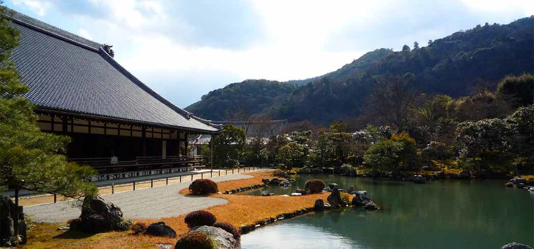 The garden at Tenryu-ji Temple is a designated monument of Japan