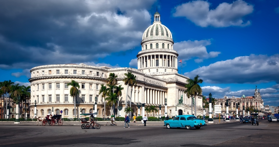 El Capitolio in Havana, Cuba, was built in a 	Neo-classical style