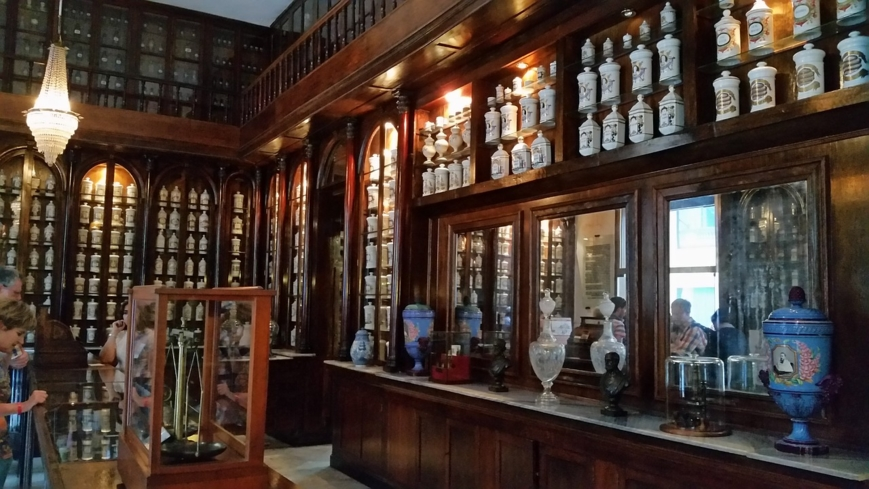 Apothecary jars on the shelves of the Museo y Farmacia Taquechel in Havana.