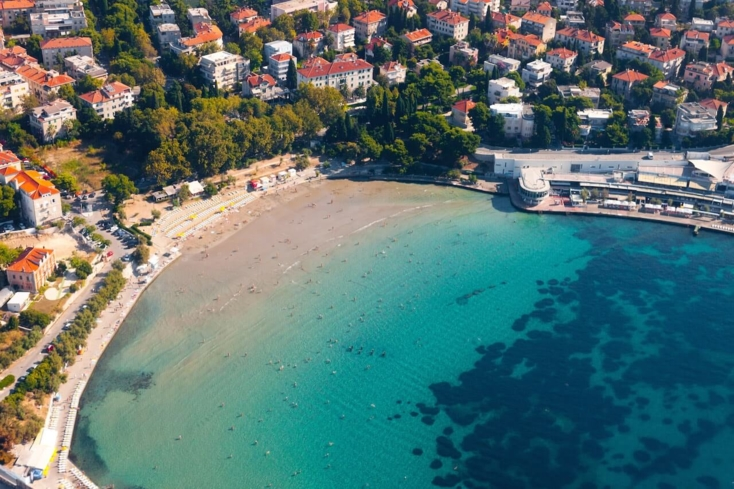 Bacvice Beach in Split, Croatia, is popular among locals and tourists.
