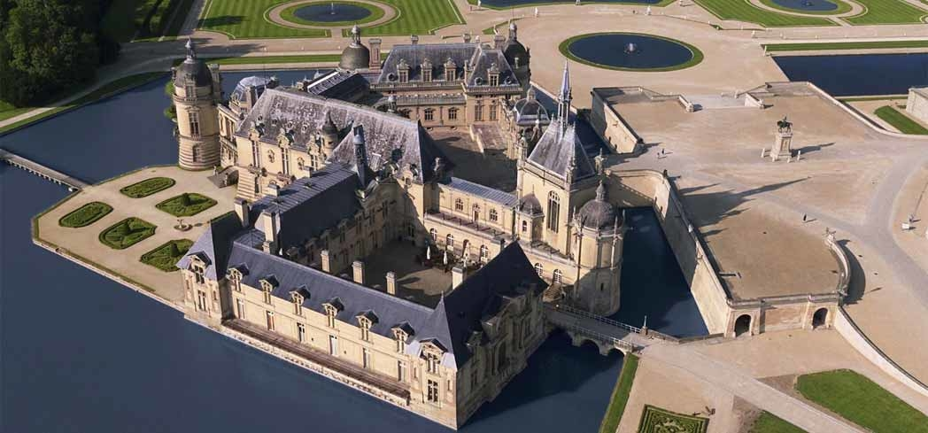 The grounds surrounding Chateau de Chantilly in France