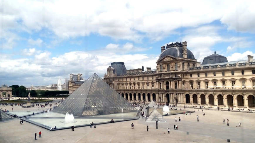 The exterior of the Louvre Museum in Paris, France