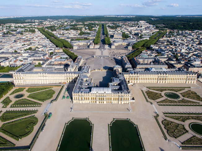 An aerial view of the Palace of Versailles in Paris