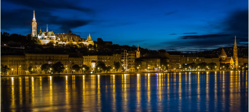 A view of Budapest and the River Danube at night