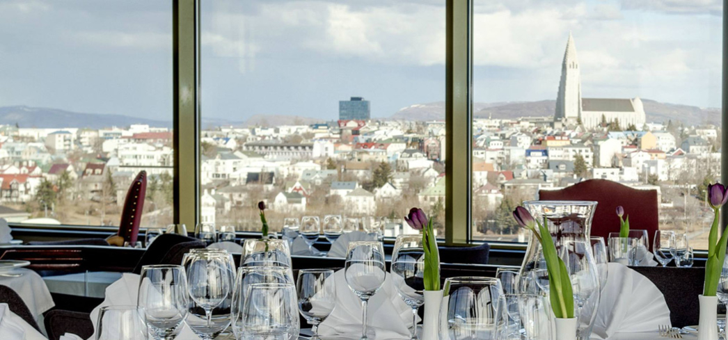 The dining room at Grillid in Reykjavik, Iceland