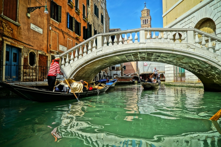 Enjoy a romantic gondola ride through the Venice canals