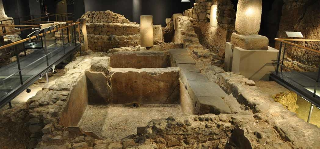 Part of the underground remains of an ancient Roman city at the Barcelona City History Museum