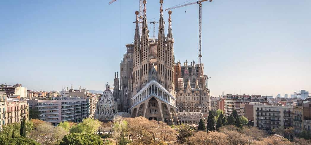 A view of the Basilica de la Sagrada Família in Barcelona