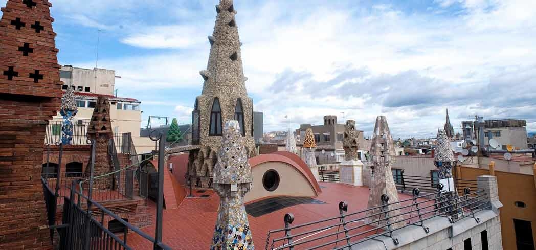 The rooftop of Palau Güell in Barcelona