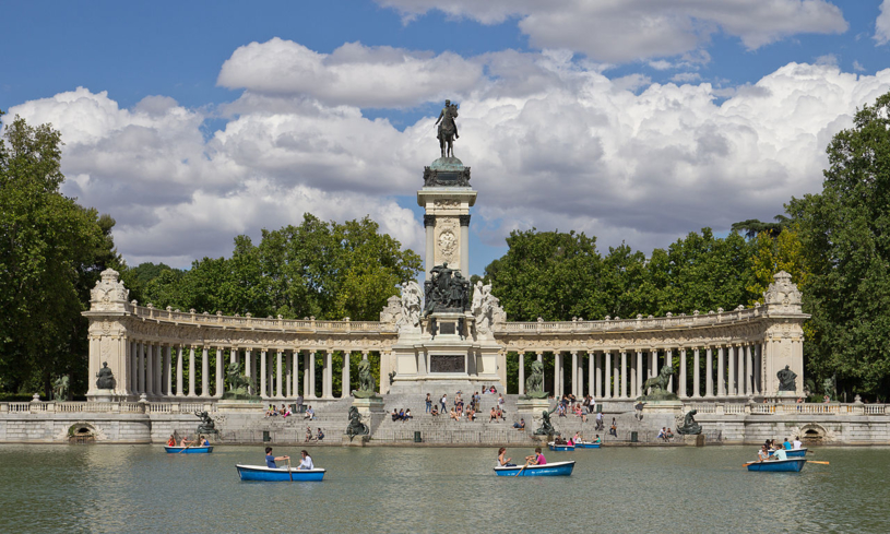 The monument of Alfonso XII de España in El Retiro Park in Madrid