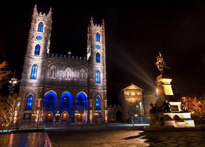 The Notre-Dame Basilica of Montréal was built in the Gothic Revival style