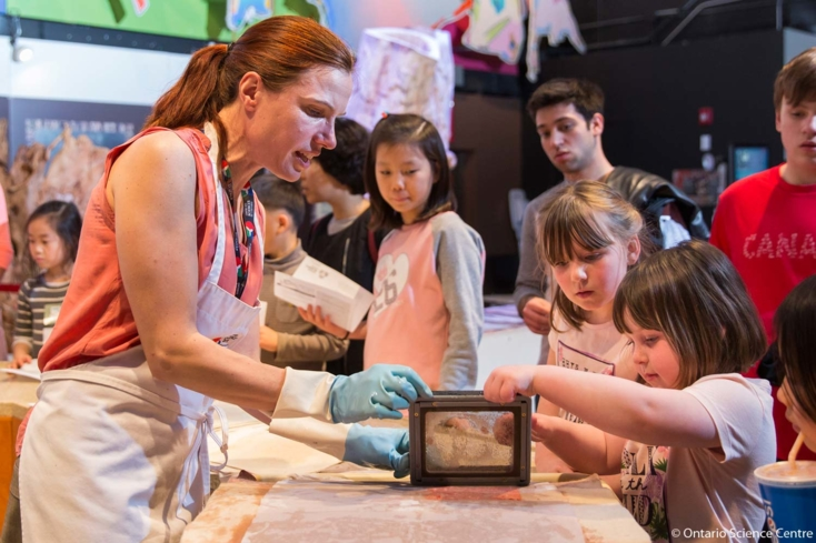 Papermaking demo at the Ontario Science Centre in Toronto