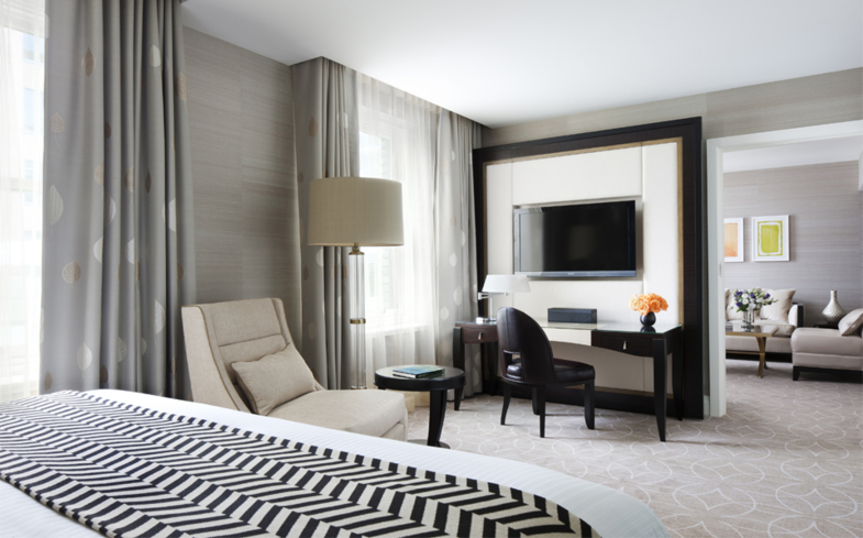 A guest room at Rosewood Hotel Georgia in Vancouver, British Columbia