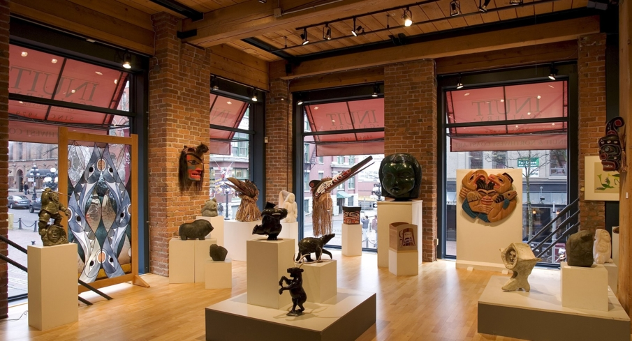 Guests can view a collection of Canadian aboriginal art at the Inuit Gallery of Vancouver