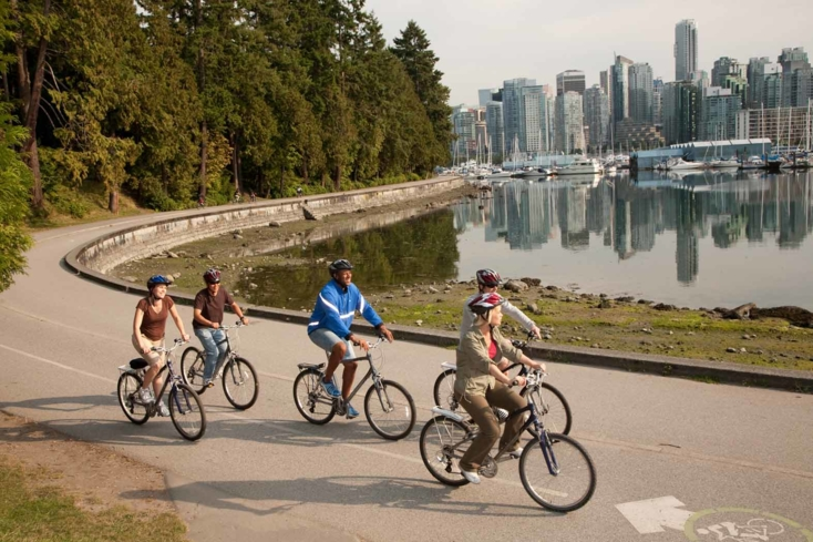 Bike through Stanley Park in Vancouver, British Columbia