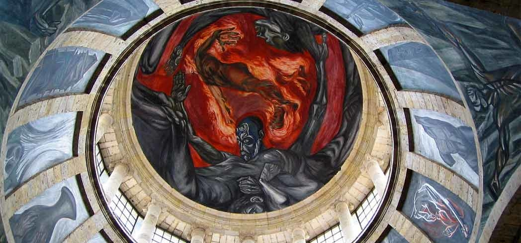 "Jose Clemente Orozco's ""Man of Fire"" piece that crowns the cupola"