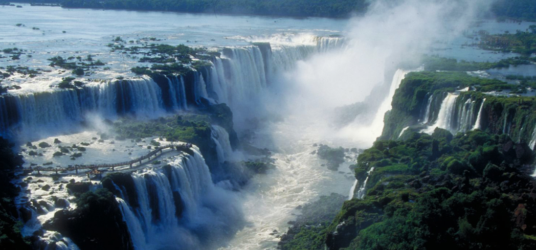 The Iguazú Falls are surrounded by the lush Misiones rainforest