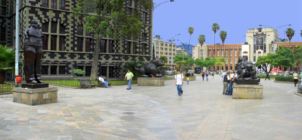 Some of the statues at Plaza Botero in Medellín