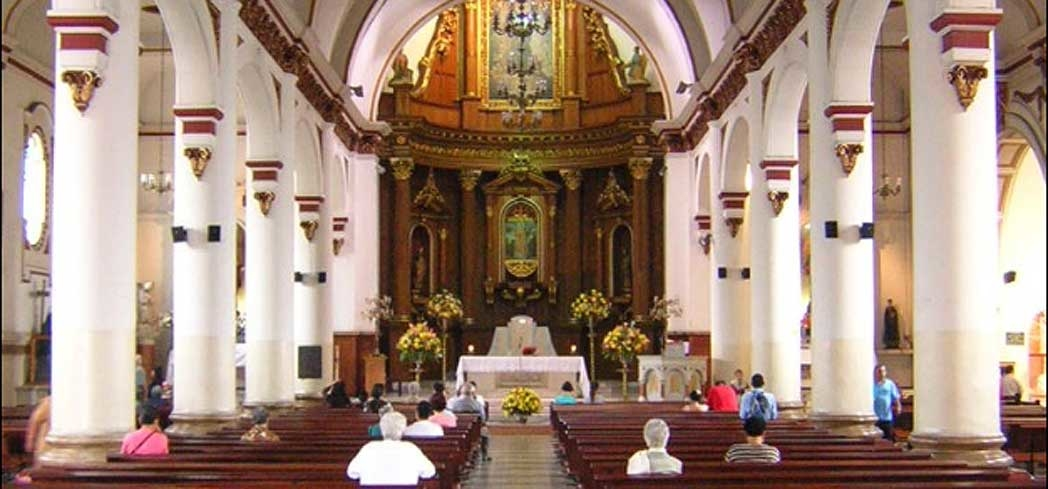 The interior of San Jose Church in Medellín