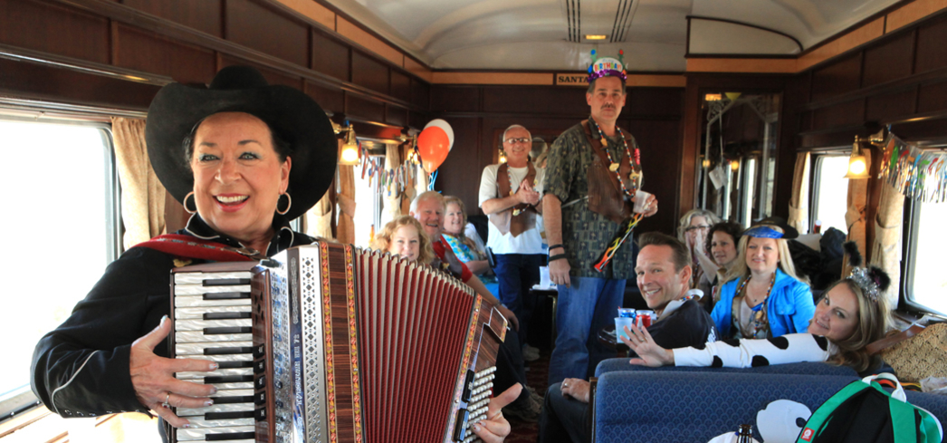 Musicians entertertaing passengers aboard the Grand Canyon Railway