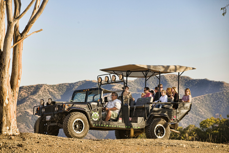 Explore the rugged terrain of Catalina Island on the biofuel Hummer Tour