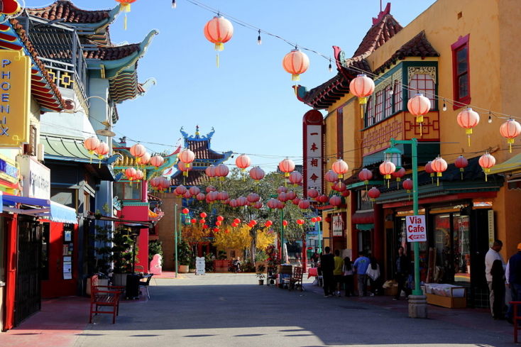 The main plaza in Chinatown in downtown Los Angeles