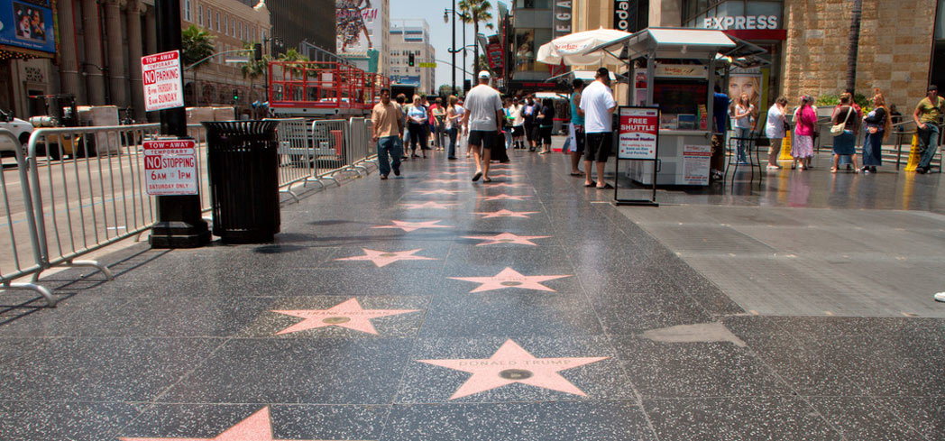 A block near Hollywood and Highland where you can find the Hollywood Walk of Fame