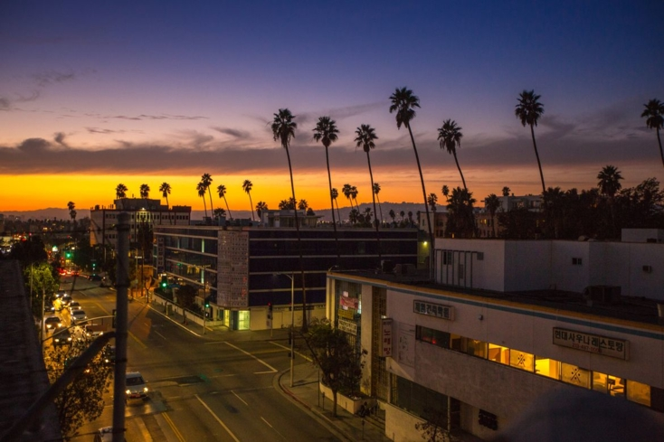 Sunset over Koreatown in Los Angeles