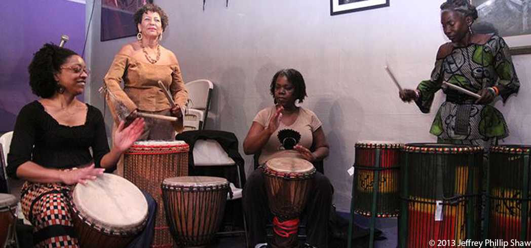 The Women's African Drum Circle at The World Stage in Leimert Park