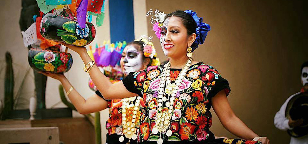A performance commemorating Dia de los Muertos at the Museum of Latin American Art in Long Beach, California