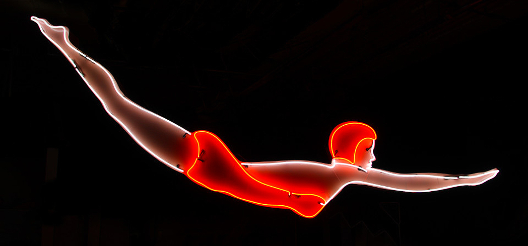 The Neon Diver at the Museum of Neon Art in Glendale, California