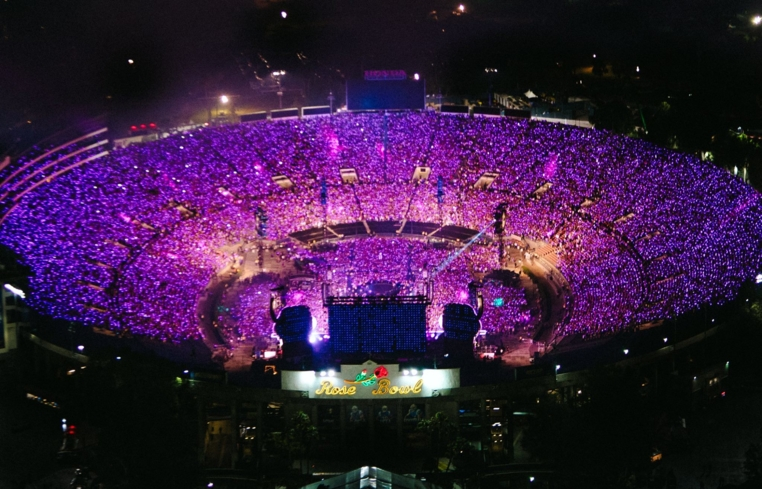 A concert at the Rose Bowl stadium in Pasadena, California