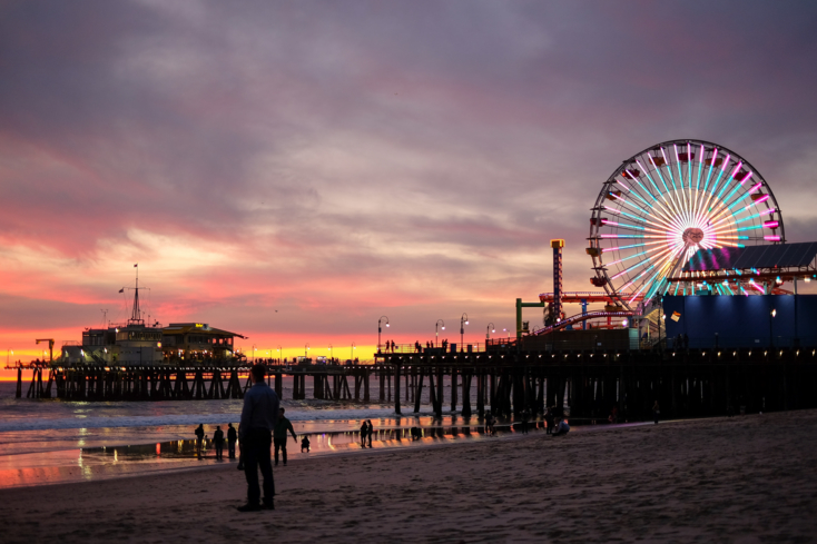 The Santa Monica Pier at sunset