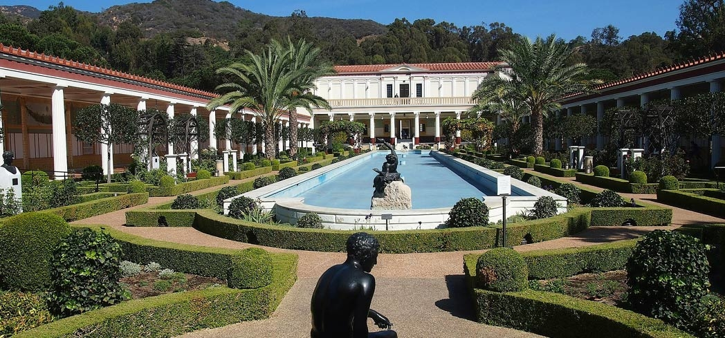 A view of The Getty Villa's gardens