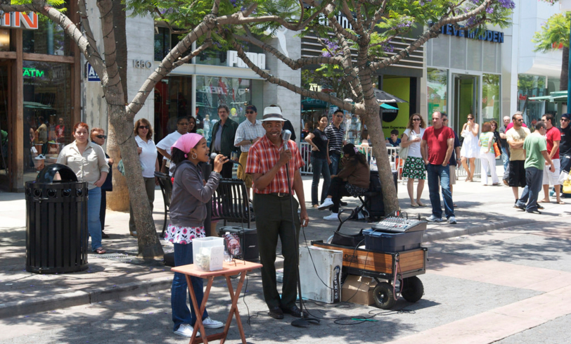 Stop by the 3rd Street Promenade where you'll often see performers as you shop