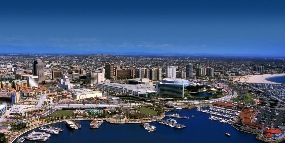 An aerial view of downtown Long Beach