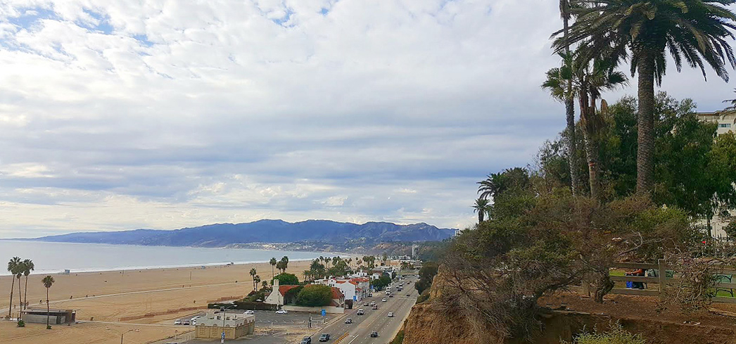 Palisades Park in Santa Monica offers some of the most scenic views of the Pacific Ocean and city activity below