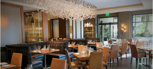 The dining room of Culina Modern Italian, one of GAYOT's Top 10 Power Breakfast Restaurants in Los Angeles