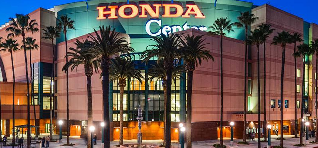 The Honda Center is home to the Anaheim Ducks hockey team and hosts live concerts