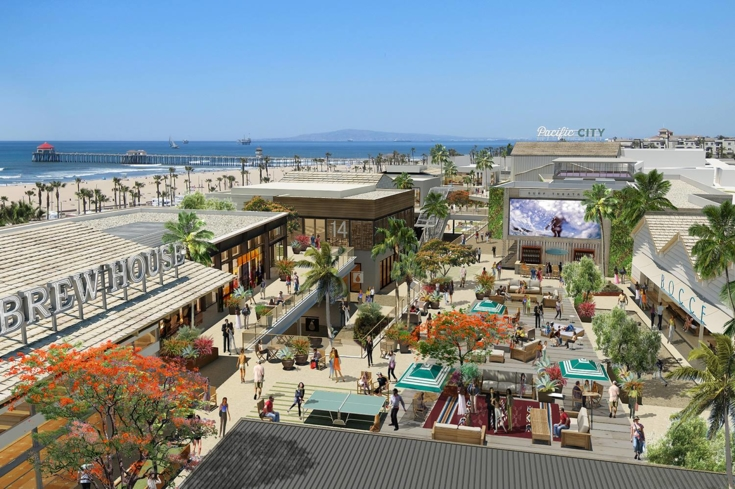 The outdoor shops of Pacific City in Huntington Beach, CA